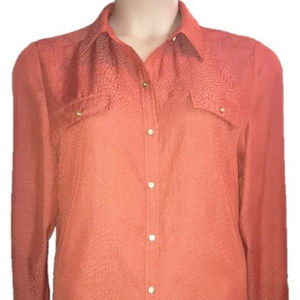 CHICO'S Polyester Button Down Shirt Size 2 (12-14)